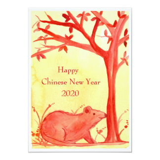 """Happy Chinese New Year of the Rat Party 5"""" X 7"""" Invitation Card"""