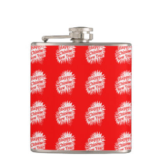 Happy Chinese New Year Pattern Hip Flask