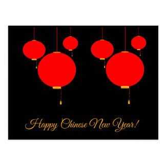 Happy Chinese New Year red lantern post card