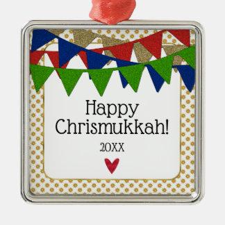 Happy Chrismukkah Christmas and Hanukkah Metal Ornament