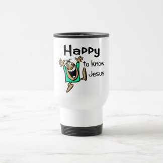 Happy Christian guy dancing Travel Mug