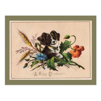Happy Christmas Cute Dog Vintage Reproduction Postcard