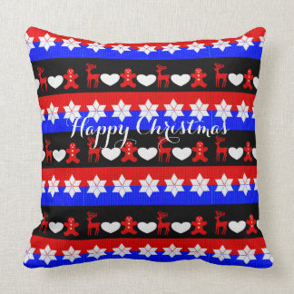 Happy Christmas Cute Traditional Patterned Throw Pillow