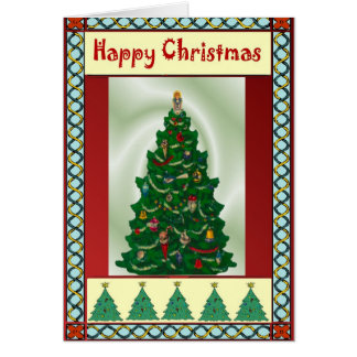 Happy Christmas, decorated Christmas tree Greeting Card