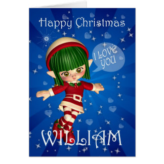 Happy Christmas Elf saying I love you Card