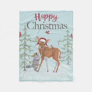 Happy Christmas Fawn and Raccoon Fleece Blanket