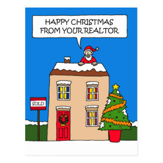 Happy Christmas from realtor. Postcard