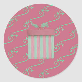 Happy Christmas Gift Stripes Classic Round Sticker