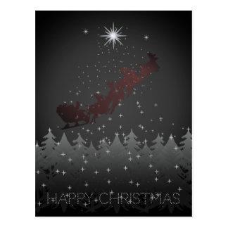 Happy Christmas Night Sky Santa Reindeer Stars Postcard