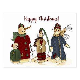 Happy Christmas Personalized Snowman Postcard! Postcard