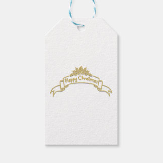 Happy Christmas Royal Golden letters Gift Tags