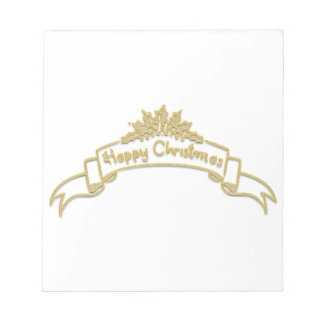 Happy Christmas Royal Golden letters Notepad