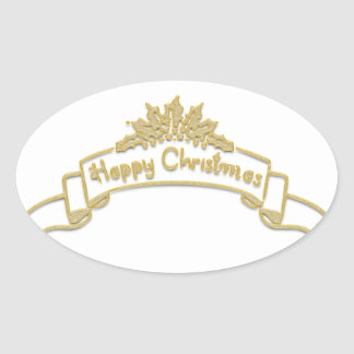 Happy Christmas Royal Golden letters Oval Sticker