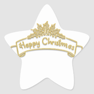 Happy Christmas Royal Golden letters Star Sticker