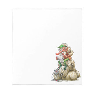 Happy Christmas Santa Elf Cartoon Notepad