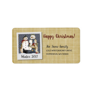 HAPPY CHRISTMAS SNOWMAN FAMILY LABELS