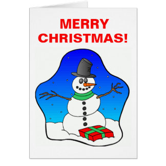 Happy Christmas Snowman Greeting Card