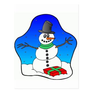 Happy Christmas Snowman Postcard