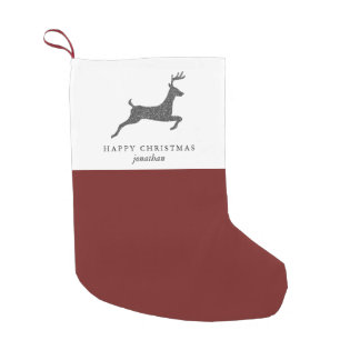 Happy Christmas Stylish Deer with Add Name Red Small Christmas Stocking