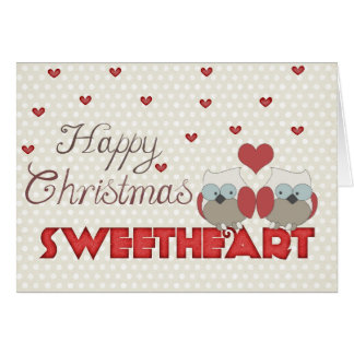 Happy Christmas Sweetheart Owls Card