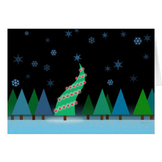 Happy Christmas Tree in Snow Greeting Card