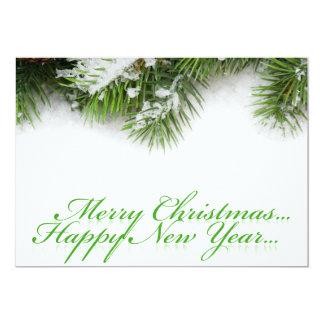 Happy Christmas Tree Leaves Invitation