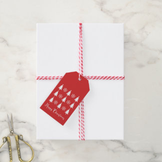 Happy Christmas Tree Red Gift Tag