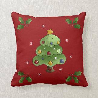 Happy Christmas Tree Throw Pillows