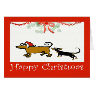 happy Christmas, two Dachshunds Card