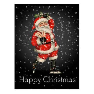 Happy Christmas Vintage Red Santa Night Skating Postcard