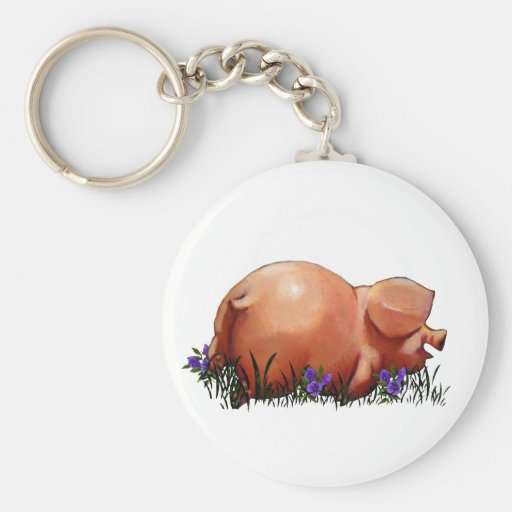 Happy, Chubby, Smiling Pig: Oil Pastel Art Key Chains