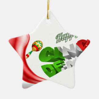 Happy Cinco De Mayo Chilli Pepper Design Ceramic Star Ornament