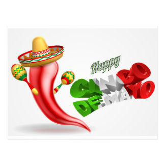 Happy Cinco De Mayo Chilli Pepper Design Postcard