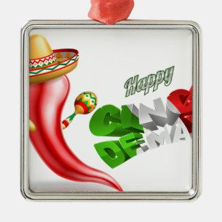 Happy Cinco De Mayo Chilli Pepper Design Silver-Colored Square Ornament
