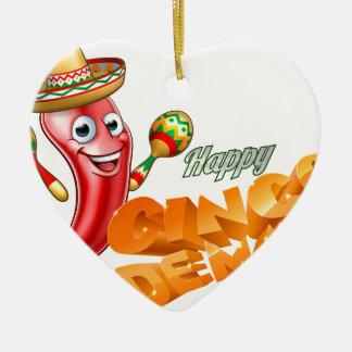 Happy Cinco De Mayo Chilli Pepper Mexican Design Ceramic Heart Ornament