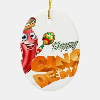 Happy Cinco De Mayo Chilli Pepper Mexican Design Ceramic Oval Ornament