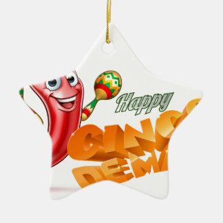Happy Cinco De Mayo Chilli Pepper Mexican Design Ceramic Star Ornament