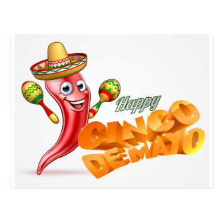 Happy Cinco De Mayo Chilli Pepper Mexican Design Postcard
