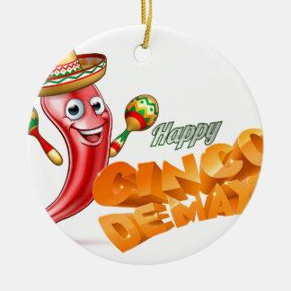 Happy Cinco De Mayo Chilli Pepper Mexican Design Round Ceramic Ornament