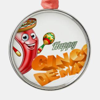 Happy Cinco De Mayo Chilli Pepper Mexican Design Silver-Colored Round Ornament