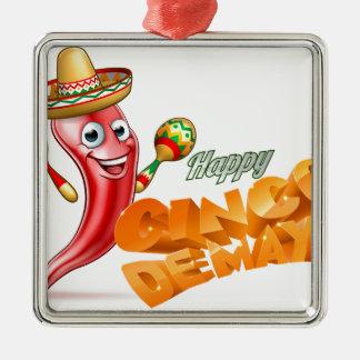 Happy Cinco De Mayo Chilli Pepper Mexican Design Silver-Colored Square Ornament