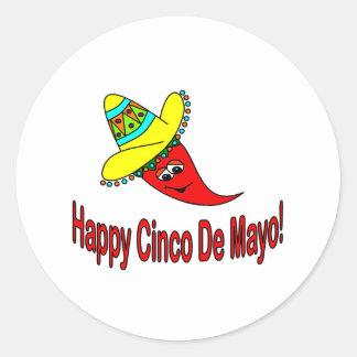 Happy Cinco De Mayo Classic Round Sticker