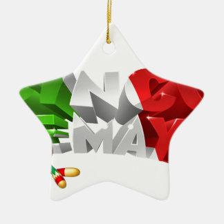 Happy Cinco De Mayo Design Ceramic Star Ornament