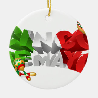 Happy Cinco De Mayo Design Round Ceramic Ornament