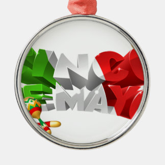Happy Cinco De Mayo Design Silver-Colored Round Ornament