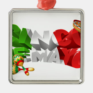 Happy Cinco De Mayo Design Silver-Colored Square Ornament