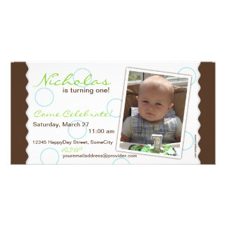 Happy Circle Photo Card: Brown & Blue Customized Photo Card