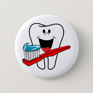 Happy clean tooth 2 inch round button