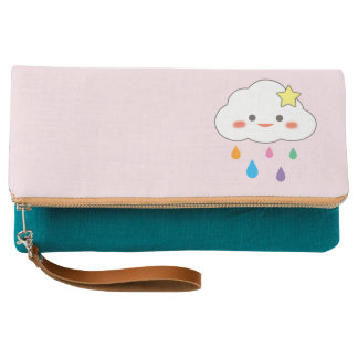 Happy Cloud & Rainbow Droplets Clutch
