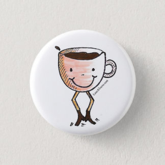 Happy coffee 1 inch round button